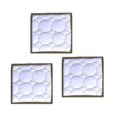 Bacati - Quilted Circles White/Chocolate 3 Pc Wall Hangings (White/Chocolate)