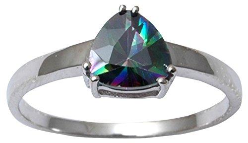 Designer Trilliant Ring (Banithani 925 Sterling Silver Elegant Mystic Topaz Stone Ring Band Indian Fashion Jewelry)