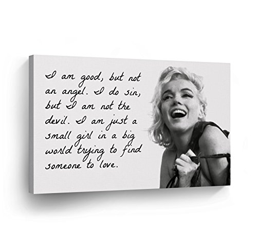 Marilyn Monroe Quotes 'I`m Good but not an Angel' Canvas Print Decorative Art Modern Wall Décor Artwork Wrapped Wood Stretcher Bars - Ready to Hang -%100 Handmade in The USA 11x17