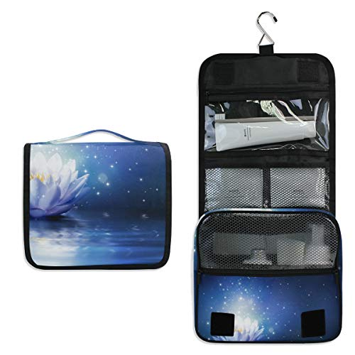 Hanging Toiletry Bag Water Lily Flower Bloom Sparkle Lotus Large Cosmetic Makeup Travel Organizer for Men & Women with Sturdy - Hanging Water Tiffany Lily