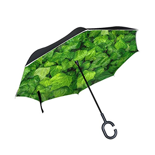 RH Studio Inverted Umbrella Ivy Leaves Drops Large Double Layer Outdoor Rain Sun Car Reversible Umbrella (Ivy Umbrella)