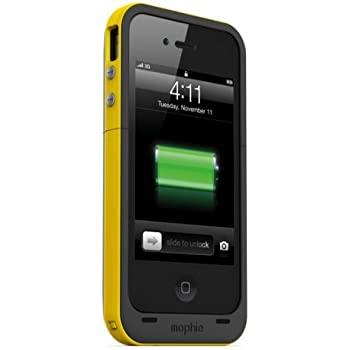 Mophie Juice Pack Plus Case and Rechargeable Battery for iPhone 4 & 4S  Retail Packaging (Yellow)