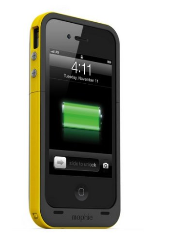 new styles 2684d da913 Mophie Juice Pack Plus Case and Rechargeable Battery for iPhone 4 & 4S  Retail Packaging (Yellow)