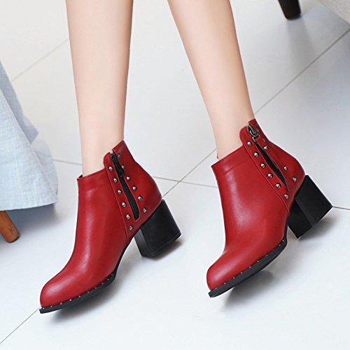 Aisun Kvinners Stilig Piggdekk Doble Zip Opp Spisse Tå Ankelstøvler Midten Chunky Hæl Sokker Med Pigger Røde