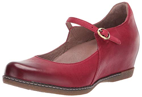 Dansko Women's Loralie Mary Jane Flat, Red Burnished Nappa, 38 Medium EU (7.5-8 US)