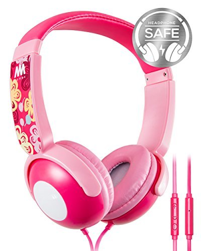 Auriculares Kids Mumba Volume Limited Over-ear Girls 85 Safe Listening Ajustable Headsets Con Microfono Para Niños Chil