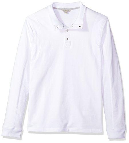 Calvin Klein Jeans Men's Long Sleeve Mock Neck Waffle Knit Henley, Standard White, (Neck Waffle)