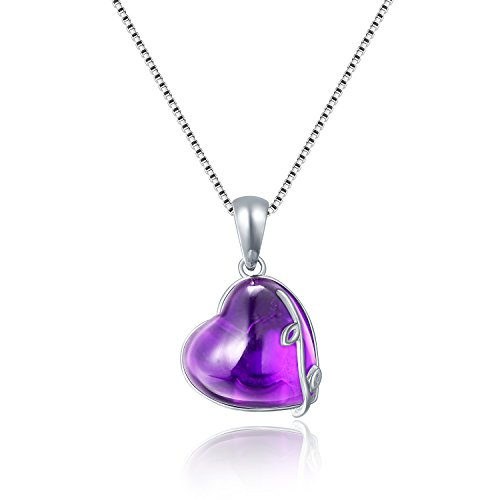 Aurora Tears Purple Created Amethyst Crystal Love Heart Birthstone Water Drop Charm Pendant Necklace 18
