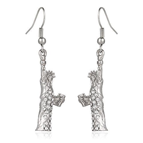 Liavy's Statue of Liberty Fashionable Earrings - Fish Hook - Sparkling Crystal - Unique Gift and Souvenir