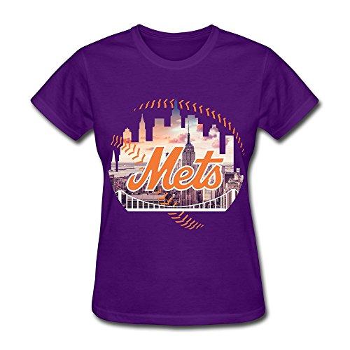 Vintage New York CityScape Mets Women's T Shirt Purple Size M