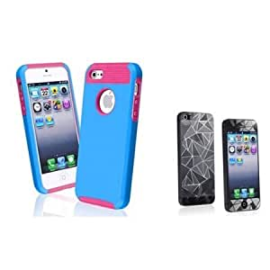 Bloutina Everydaysource compatible with Apple? iPhone? 5 Hybrid Hot Pink TPU/ Blue Hard Case + 3D Diamond Blink LCD Cover...