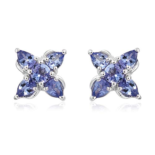 Earrings Tanzanite Shape Set - Pear Tanzanite Cluster Stud Earrings 925 Sterling Silver Platinum Plated Gift Jewelry for Women Ct 1.1