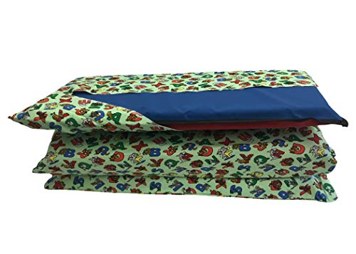 KinderMat Cover, Pillowcase Style Full Sheet for Rest Mats Roughly 19 X 45 Inches, Animal Alphabet, Beige Green