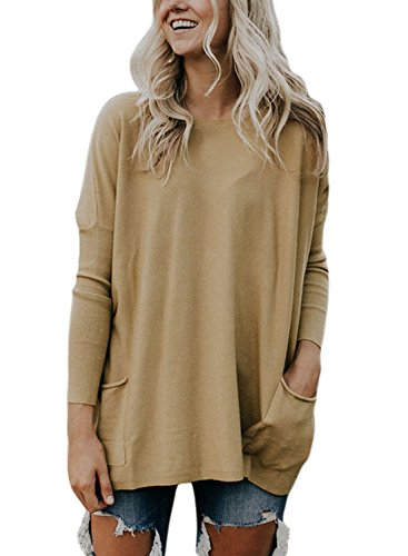 AlvaQ Women's Pockets Long Sleeve Round Neck Pullover Sweater Knit