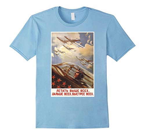 Mens Fly Higher Further Faster Vintage USSR Retro Soviet Tee XL Baby (Flag Baby Doll T-shirt)