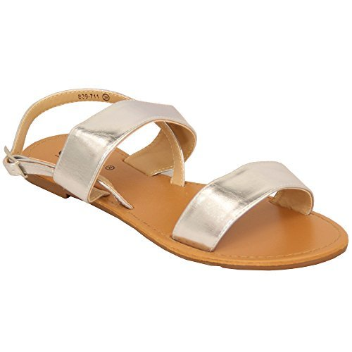Ladies Flat Sandals Womens Open Toe Double Strap Buckle Casual Fashion Summer Sliver - 839711 dZnlPF