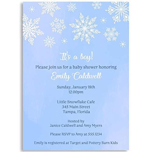 Winter Wonderland Baby Shower Invitations, Blue, Winter Wonderland, Baby Shower, Snowflakes, Snowfall, White, Winter, 10 Printed Invitations with White Envelopes]()