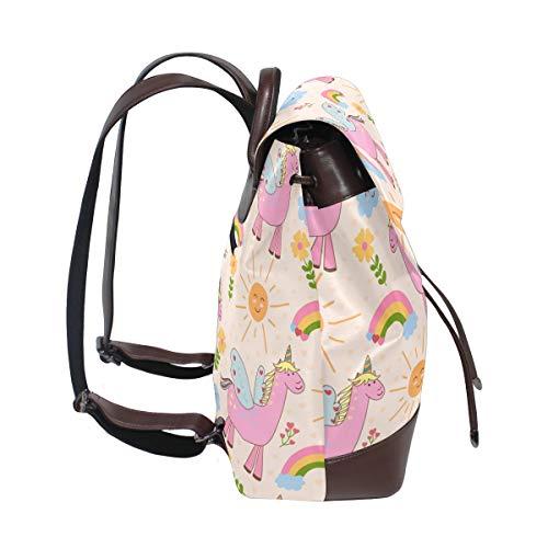 Söta rosa enhörningar mönster ryggsäck handväska mode PU-läder ryggsäck ledig ryggsäck för kvinnor