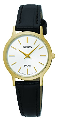 Seiko Womens Analogue Classic Solar Powered Watch with Leather Strap SUP300P1 (Seiko Strap Leather Watches Women)