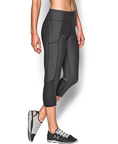 Under Armour Women's Fly-By Capri, Carbon Heather (090), X-Large
