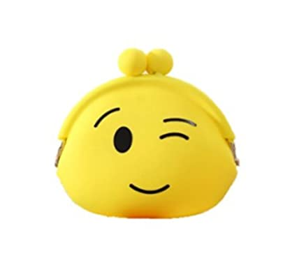 Qingsun Super Cute creativo Cartoon silicona Emoji Monedero bolsa móvil funda tipo cartera para los niños