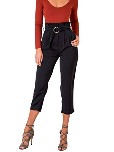 Glamaker Women's Casual Carpi Pants High Waist Straight Cropped Trousers with Belt (Cropped Casual Trousers)