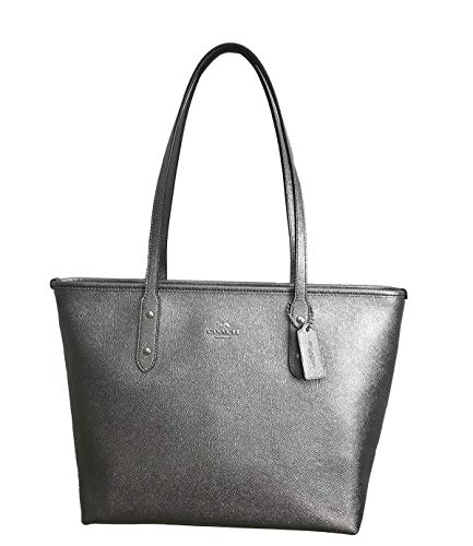 COACH CITY ZIP TOTE CROSSGRAIN LEATHER HANDBAG BLACK ()