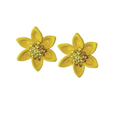 Daffodil With Trumpet Yellow Enamel Petite Gold Tone Stud Pierced Earrings With Gift Box w6pz3s