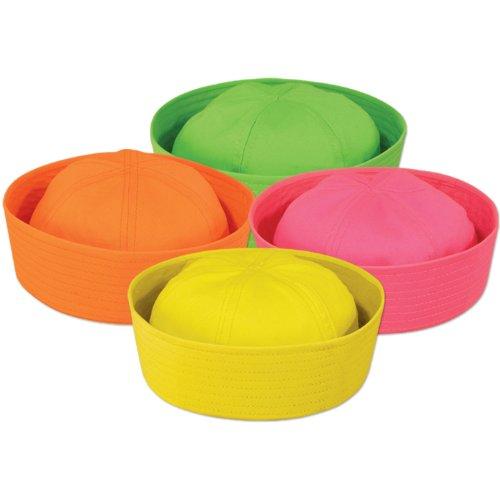 Neon Sailor Hats (asstd colors) Party Accessory  (1 count)