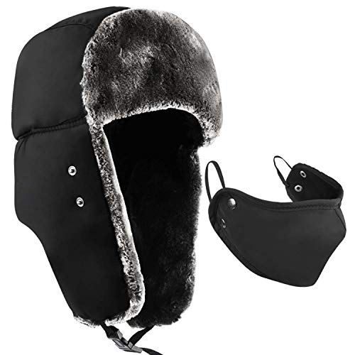 Colleer Winter Trooper Trapper Hat Cap Ushanka Russian Hats Ear Flaps Strap with Windproof Facemask Black ()