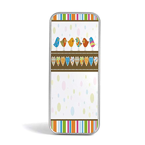 Tin Storage Box,Valentines Day Decor,Use As Pencil,Jewelry,Gift,Candy,Make up,Birthday or Gift Box,Cute Chubby Birds with Colored Hearts and Stripes Abstract Dots Image