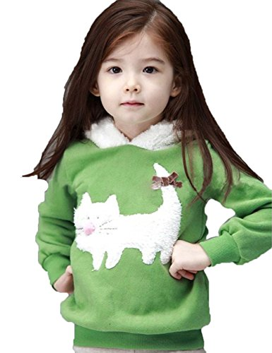Cute Kids Girls Toddlers Cartoon Cat Velvet Outfit Top Coat Jacket Fall and Winter (120, Green)