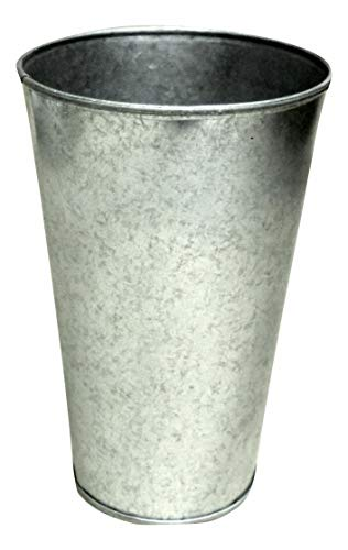 """Set of 3 Galvanized Buckets French Style Taper 9"""" tall x 5"""" wide"""