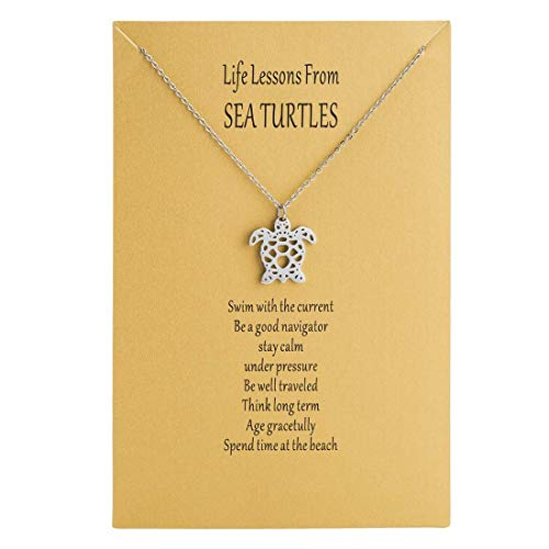 Bestill Origami Sea Turtle Pendant Necklace,Age Gracetully Statement Necklace Birthday Gift,with Gift Card