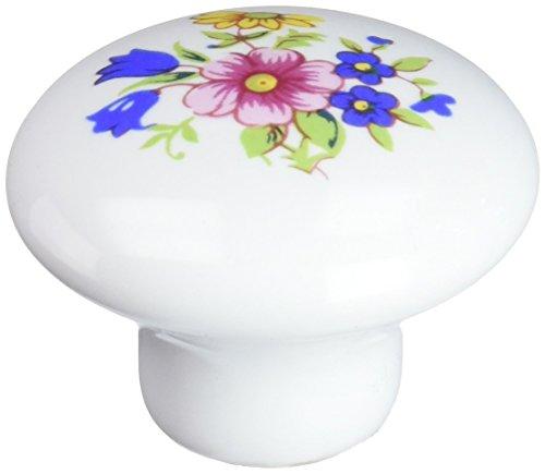 - Amerock 14204WHT White Ceramic with Floral Design Cabinet Hardware Knob - 1-1/4