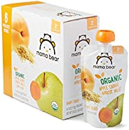 Amazon Brand - Mama Bear Organic Baby Food, Stage 2, Apple Carrot Apricot Millet, 4 Ounce Pouch (Pack of 12)