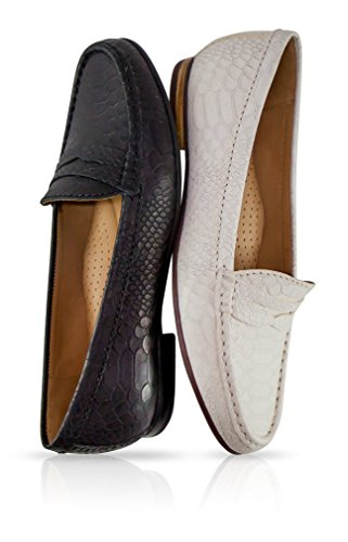 Driver Club USA Women's Genuine Leather Made in Brazil Greenwich Fashion Penny Loafer Navy Penny free shipping view V7A5o