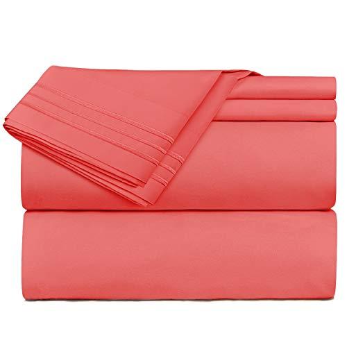 Nestl Bedding 4 Piece Sheet Set - 1800 Deep Pocket Bed Sheet Set - Hotel Luxury Double Brushed Microfiber Sheets - Deep Pocket Fitted Sheet, Flat Sheet, Pillow Cases, King - Coral Pink
