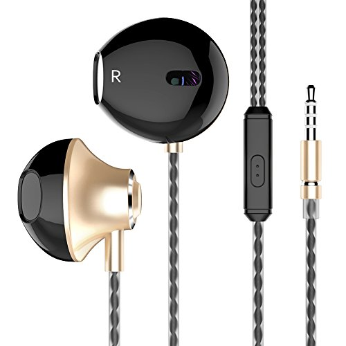 In-ear Headphones Earbuds High Resolution Heavy Bass with Mic for Apple iPhone iPod iPad Samsung Galaxy LG HTC-Champagne Gold