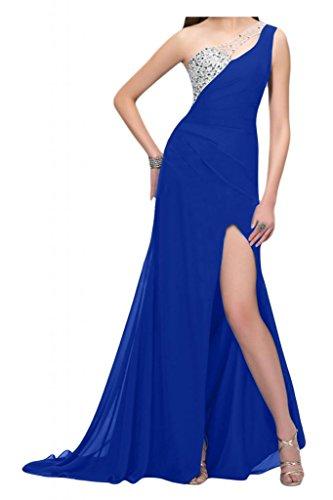 Por la noche de la Toscana de novia de Gasa de noche de la manera de la ranura de largo al tul vestidos de bola con vestidos Prom Azul Real