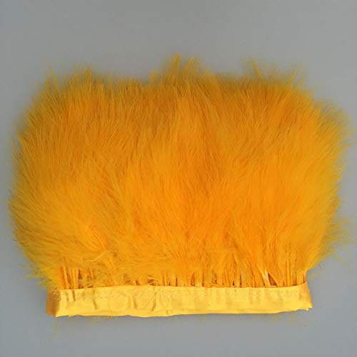MIPPER 10 Yards Fluffy Marabou Feather Fringe Trims 6~8 Inch Turkey Feather Ribbons for Skirt Dress Crafts DIY Decoration (Gold Yellow)