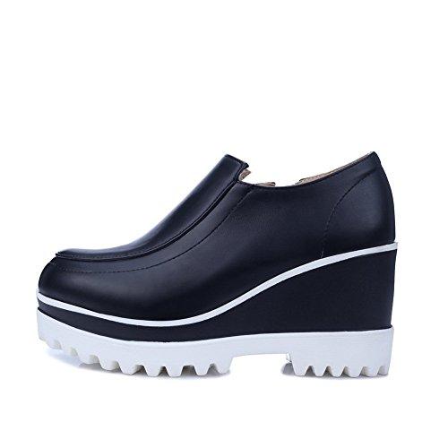 Girls Pumps Inside Heighten Shoes BalaMasa Leather Black Imitated Zipper zq4aPOR