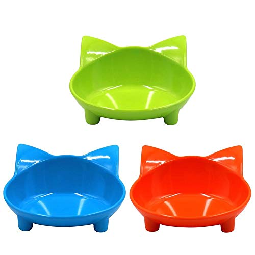 WXLAA 3 Pieces Cat Bowls Melamine Non Skid Pet Food Water Feeding Bowl Dishes Shallow and Wide Relief of Whisker Fatigue Design (Green/Blue/Orange) -