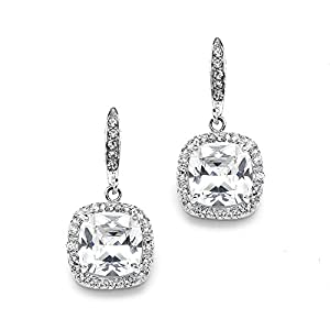 Mariell Cushion Cut Cubic Zirconia Wedding, Bridal CZ Earrings in Rhodium with Pave Frame & Euro Wire