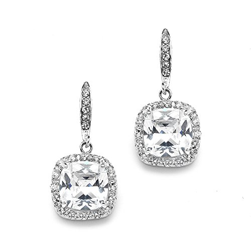 Mariell Cushion Cut Cubic Zirconia Wedding, Bridal CZ Earrings in Rhodium with Pave Frame & French Wire (Earrings Square Wire)