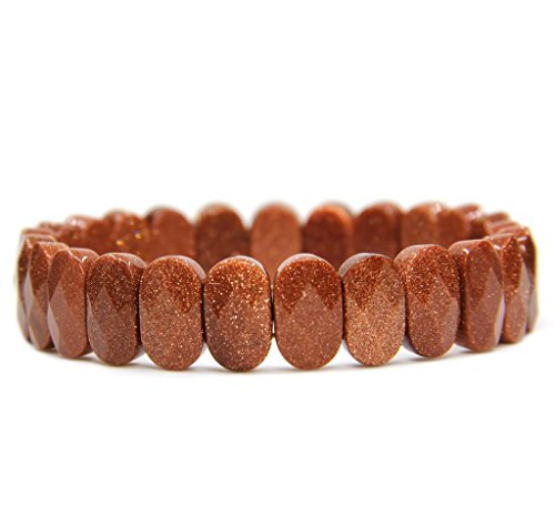 Amandastone Synthetic Goldstone Gemstone 14mm Faceted Oval Beads Stretch Bracelet 7