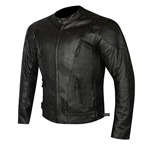HIGHLY VENTILATED MOTORCYCLE LEATHER CRUISER ARMOR TOURING JACKET FOR MEN XL
