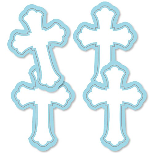 Little Miracle Boy Blue & Gray Cross - Decorations DIY Baptism or Baby Shower Party Essentials - Set of 20 ()