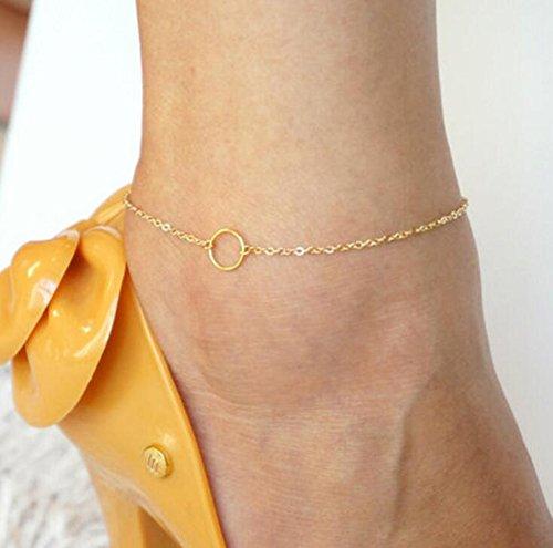 Anneau d'or Anneau de pied simple Chaîne de pied Anklet Jupes de pied de plage pieds nus pour femmes