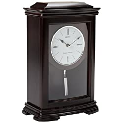 Seiko Dark Brown Mantel Clock with Chime and Pendulum